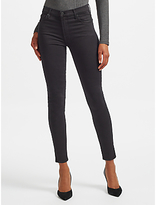 7 For All Mankind High Waist Skinny Slim Illusion Cropped Jeans, Black