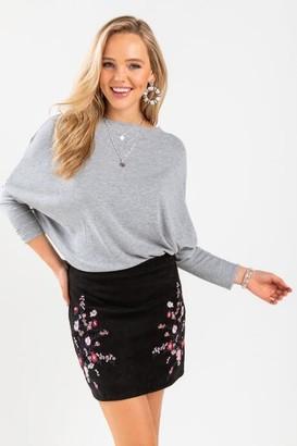 francesca's Erin Embroidered Mini Skirt - Black