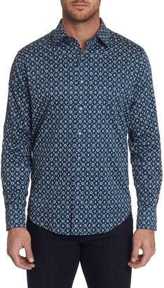 Robert Graham Men's Nicholson Patterned Sport Shirt with Contrast Detail