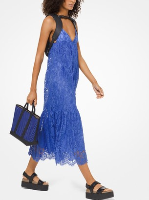 Michael Kors Crushed Floral Lace Empire Dress