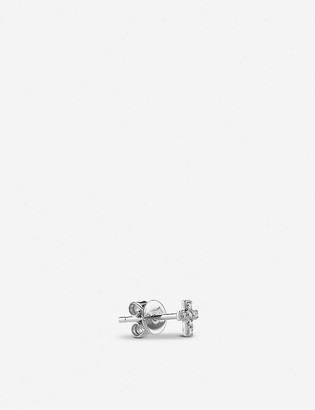 THE ALKEMISTRY Sydney Evan mini cross 14ct white-gold and diamond earring
