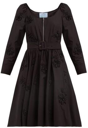 Prada Floral Embellished Scoop Neck Cotton Poplin Dress - Womens - Black