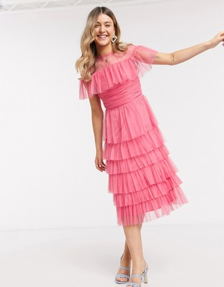 Anaya With Love mesh top tiered ruffle midi dress in pink