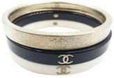 Chanel Gold Black Ivory 3 Stackable Bangle Bracelet