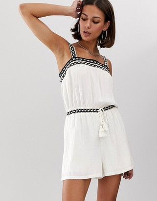 Bershka woven detail playsuit in white