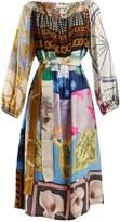 RIANNA + NINA Vintage patchwork scarf-print silk dress