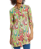 Multiples Roll-Tab Sleeve Button Front Printed Tunic