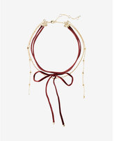 Express burgundy velvet and gold wrap chain choker necklace
