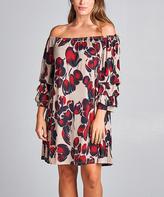 Tua Wine & Taupe Floral Off-Shoulder Dress - Plus
