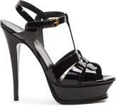Saint Laurent Tribute Black Patent Leather Sandals