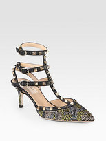 Valentino Camouflage Crystal-Coated Leather Slingback Pumps