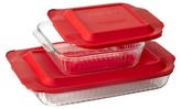 """Pyrex Fluted Glass Bakeware Value Pack- 3qt + 8"""" square"""
