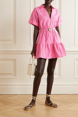 Nicholas Salma Belted Cotton And Silk-blend Mini Dress - Pink