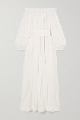 Kalita Pegasi Off-the-shoulder Belted Cotton-gauze Maxi Dress - White