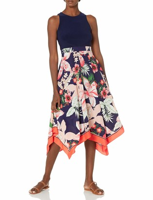 Vince Camuto Women's Printed CDC Handkerchief Hem Twofer Dress with ITY Bodice