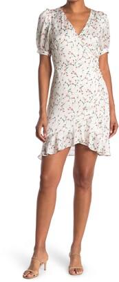 Lucy Paris Sabine Floral Puff Sleeve Wrap Dress