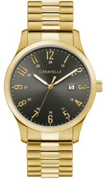 Caravelle Men's Gold-Tone Stainless Steel Expansion Bracelet Watch 40.2mm