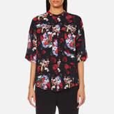Kenzo Women's Antonio Flower Silk Pocket Top Vermillion