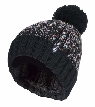 HEAT HOLDERS - Ladies Chunky Thermal Winter Fashion Bobble Hat with Extra Large Pom Pom (One Size