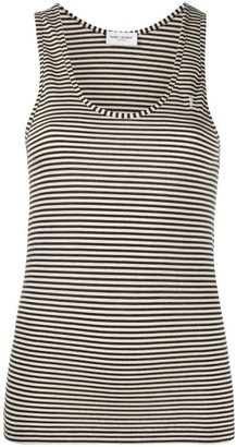 Saint Laurent Black And White Horizontal Striped Tank Top