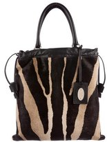 Etro Leather-Trimmed Ponyhair Tote
