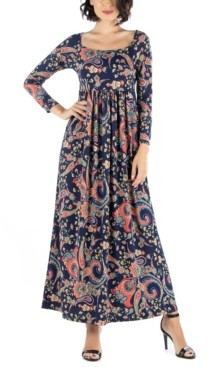 24seven Comfort Apparel Women's Paisley Print Long Sleeve Pleated Maxi Dress