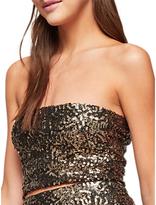 Miss Selfridge Sequin Bandeau Top, Gold