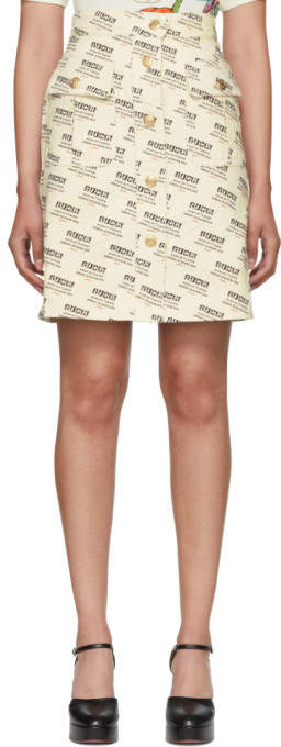 Gucci Off-White All Over Logo Stamp A-Line Skirt