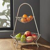 Crate & Barrel Handled 2-Tier Wire Fruit Basket