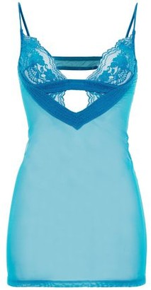 La Perla Cutout Leavers Lace And Stretch-tulle Chemise