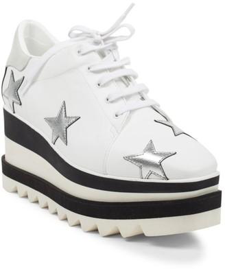 Stella McCartney Sneak-Elyse Ebroidered Star Platform Wedge Sneakers