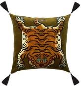 House Of Hackney - Saber Large Tasselled Velvet Cushion - Womens - Dark Green