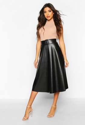 boohoo Leather Look Buckle Midi Skater Skirt