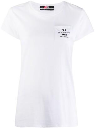Karl Lagerfeld Paris address logo pocket T-shirt