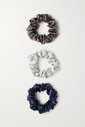 Slip Set Of Three Large Silk Hair Ties - Blue