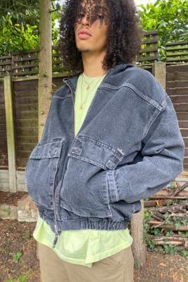 BDG Black Denim Hooded Skate Jacket - Grey S at Urban Outfitters