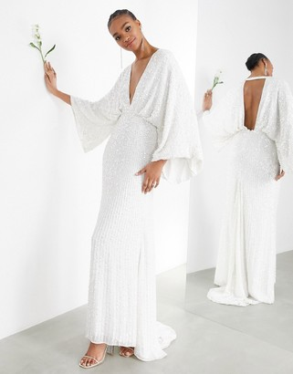 ASOS EDITION Ciara sequin kimono sleeve wedding dress