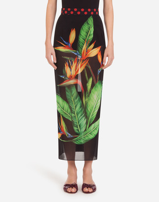 Dolce & Gabbana Lightweight Longuette Tube Skirt With Bird Of Paradise Print