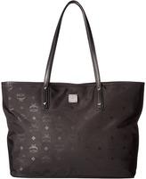 MCM Dieter Monogrammed Nylon Top Zip Medium Shopper Tote Handbags