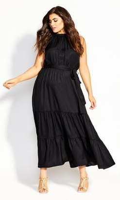 City Chic Halter Lady Maxi Dress - black