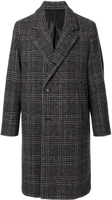 Solid Homme Single-Breasted Plaid Coat