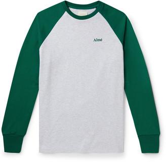 Aimé Leon Dore Colour-Block Embroidered Melange Cotton-Jersey T-Shirt - Men - Gray