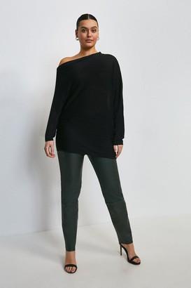 Karen Millen Curve Slinky Knitted Rib Drape Shoulder Top