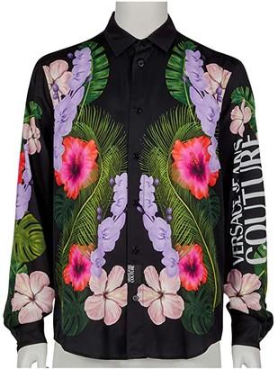 Versace Tropical Print Long Sleeve Shirt (Black) Men's Clothing