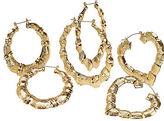 Bamboo-style hoop pierced earrings