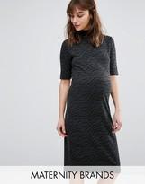 Mama Licious Mama.licious Textured High Neck Short Sleeve Dress