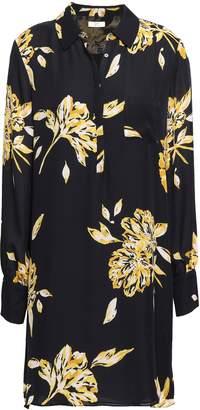 Joie Floral-print Silk-crepe Mini Shirt Dress