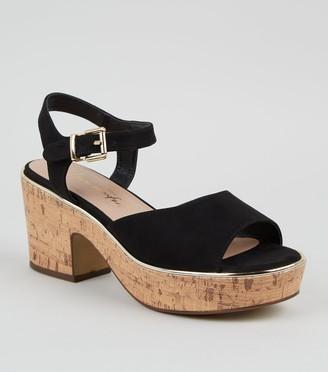 New Look Wide Fit Suedette Cork Block Heel Sandals