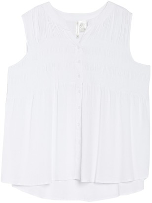Forgotten Grace Button Down Smocked Tunic (Plus Size)