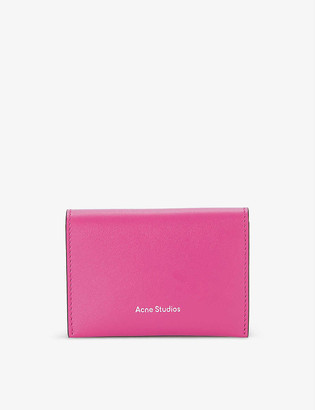 Acne Studios Brand-embossed grained-leather card holder